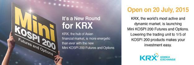 세계에서 가장 액티브하고 다이나믹한 시장, krx의 미니코스피200 선물.옵션이 새로시작됩니다.기존코스피200 상품의 1/5수준으로 거래단위를 줄여 투자가 더욱 쉬워집니다.